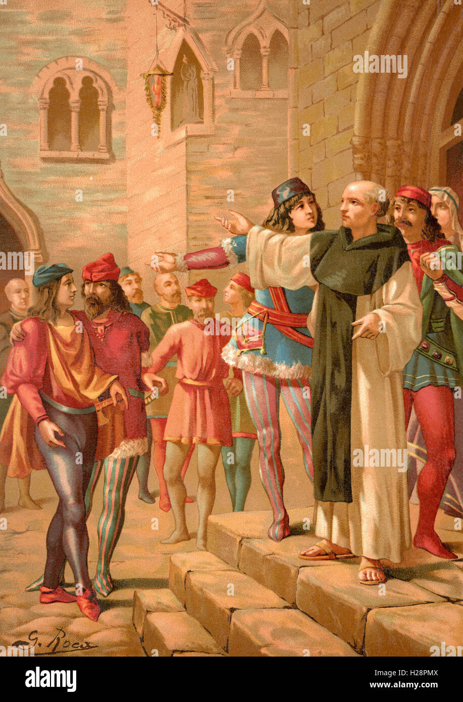 La predicación de Savonarola en Florencia, Italia. Girolamo Savonarola, 1452 - 1498. Fraile dominico italiano Imagen De Stock