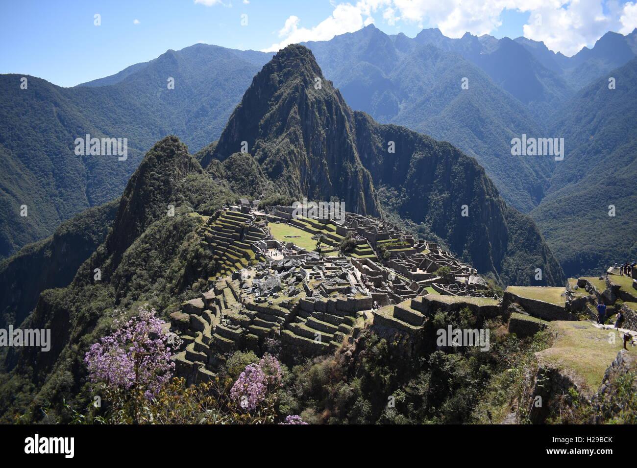 El asentamiento inca de Machu Picchu, Perú. Foto de stock