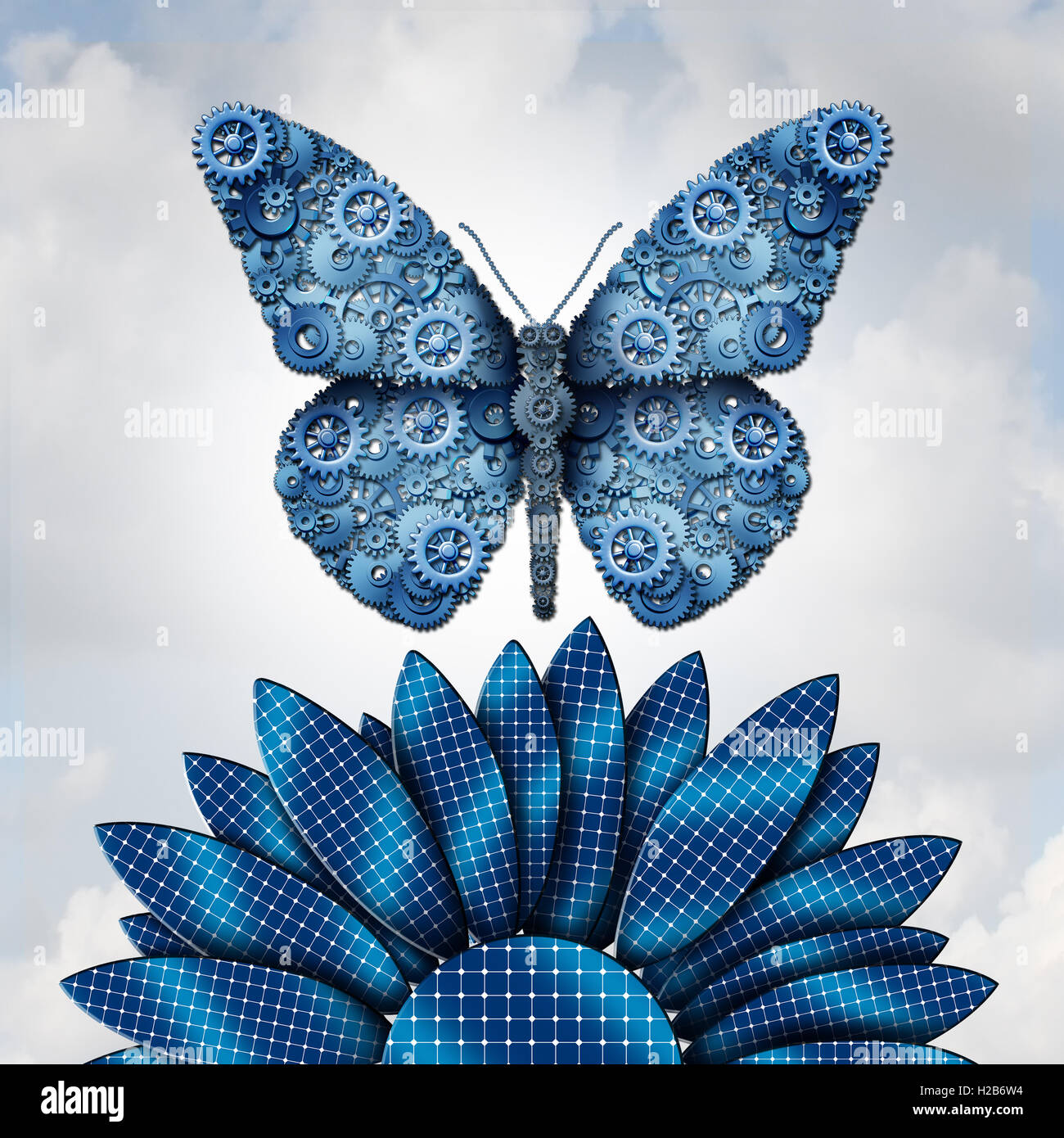 La industria de la energía solar y combustible alternativo desde el sol como una forma de mariposa con engranajes Imagen De Stock
