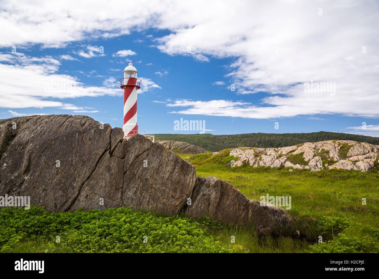El contenido del corazón Faro de Trinity Bay, Terranova y Labrador, Canadá. Imagen De Stock