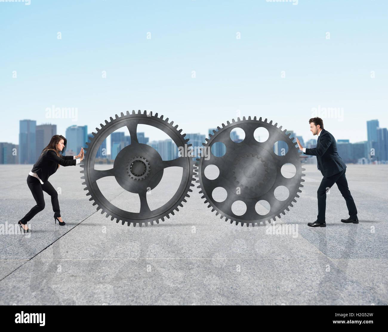Trabajo en equipo de los empresarios Imagen De Stock