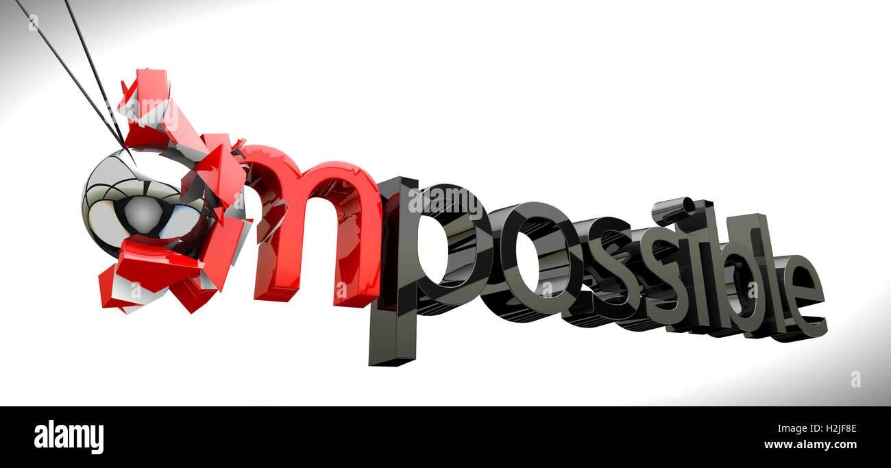 Concepto de éxito,bola metálica basculante imposible romper Imagen De Stock