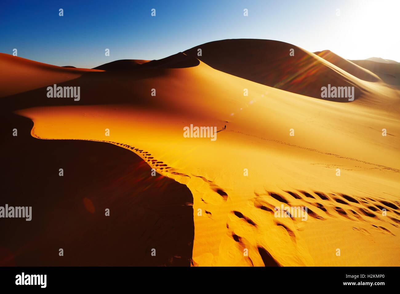 Una duna de arena con huellas al amanecer, el desierto del Sahara, Argelia Imagen De Stock