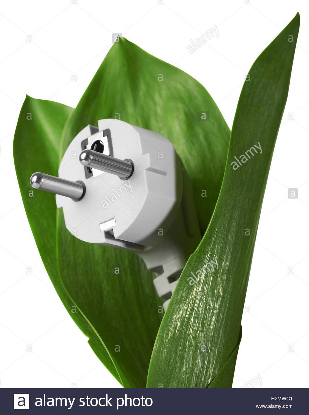 Energía ecológica en un fondo blanco. Imagen De Stock