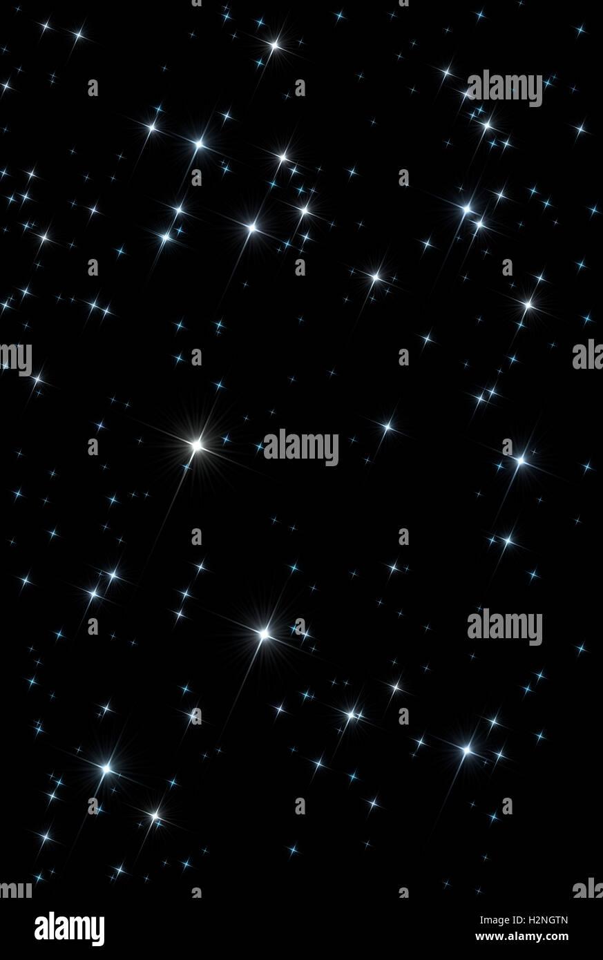 Espacio abstracto universo antecedentes: patrón de centelleo estrellas brillantes aislados sobre el fondo negro. Imagen De Stock