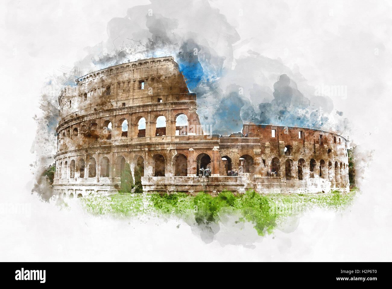 Dibujo De Acuarela De Colores Del Coliseo Roma Italia Con Trazos