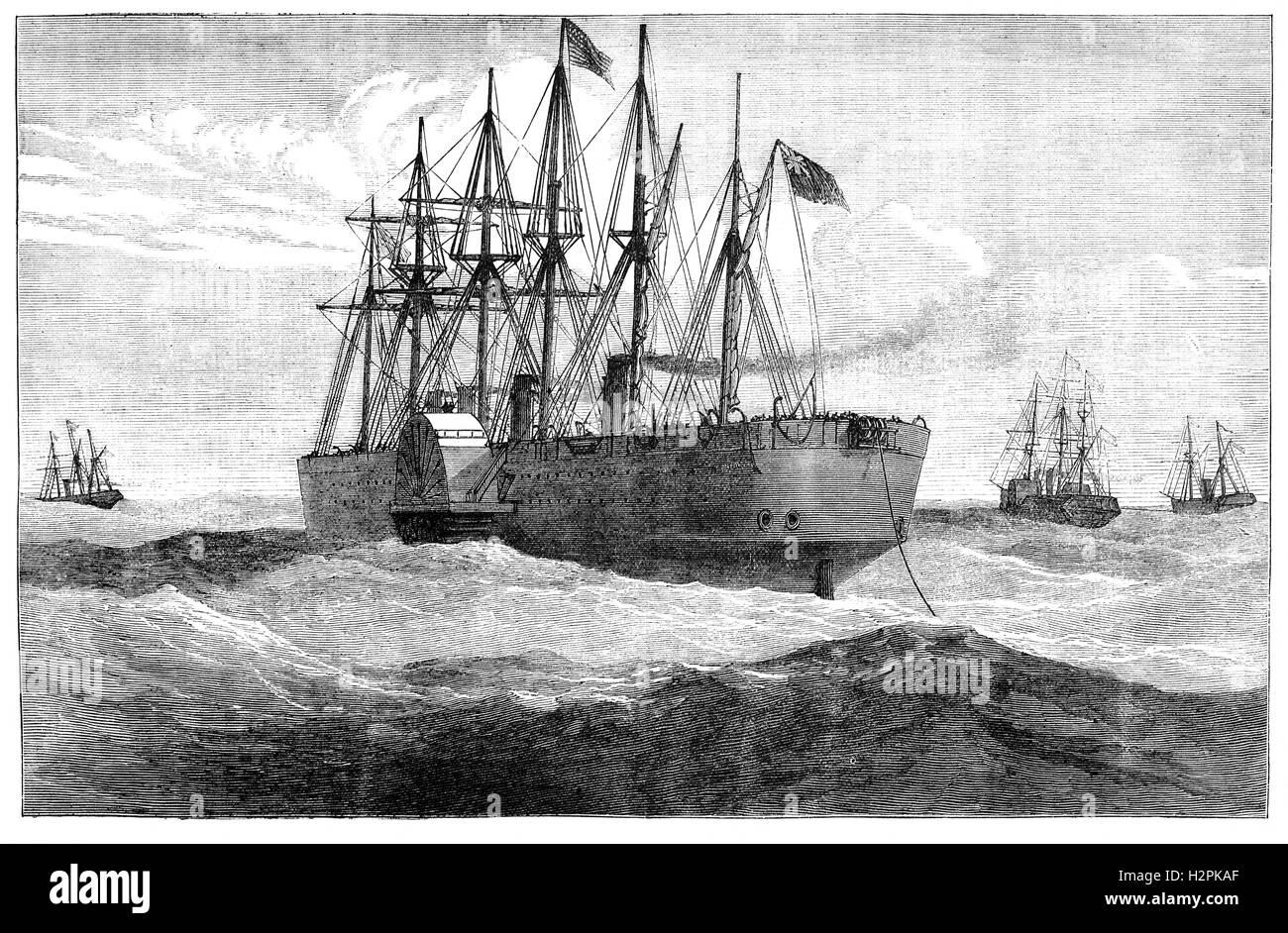 SS Great Eastern fue una plancha de vapor vela barco diseñado por Isambard Kingdom Brunel y el barco más grande Foto de stock
