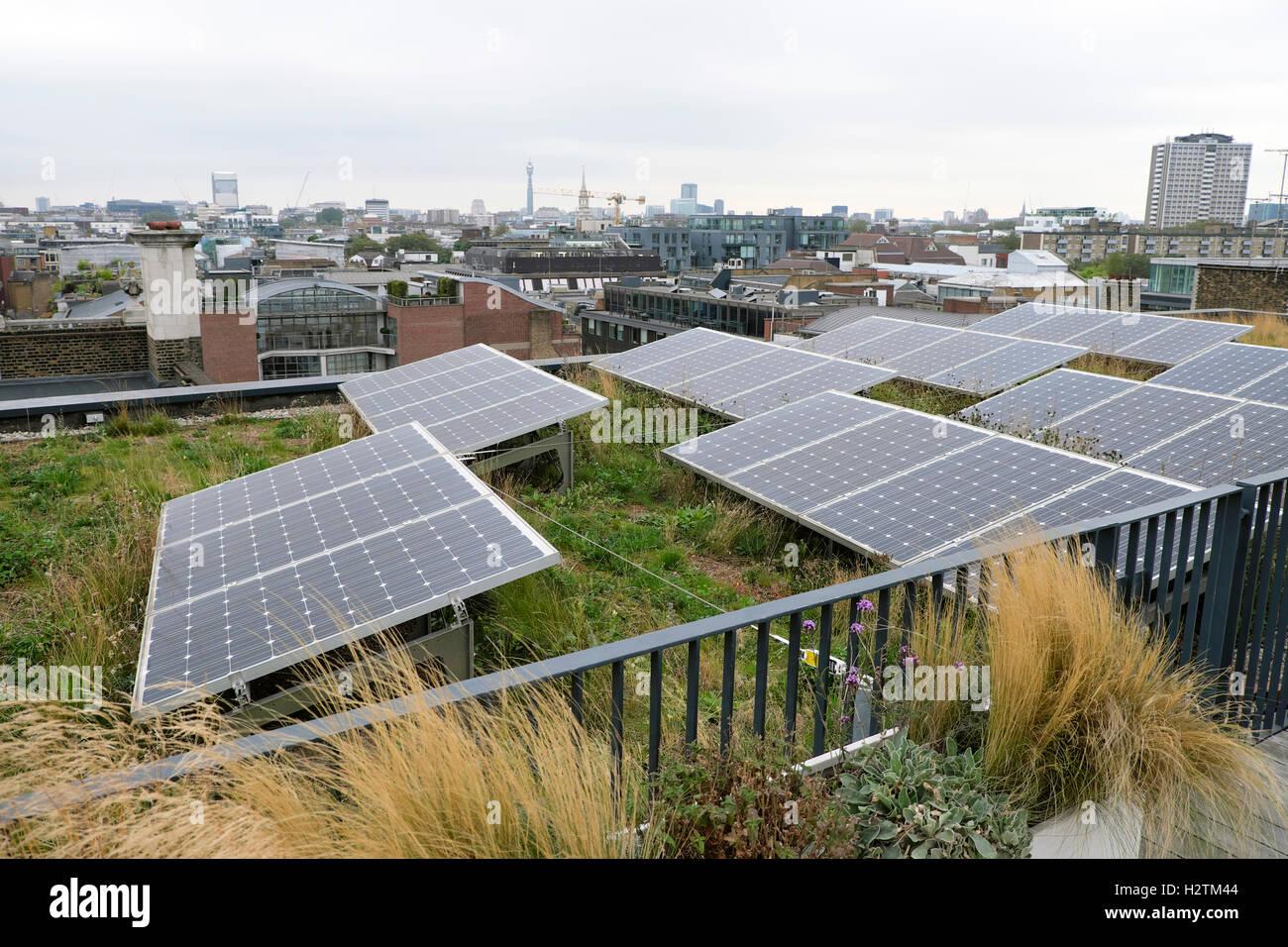 Paneles solares en el jardín en la azotea de la oficina de arquitectos AHMM en 'Open House' de 2016 Imagen De Stock