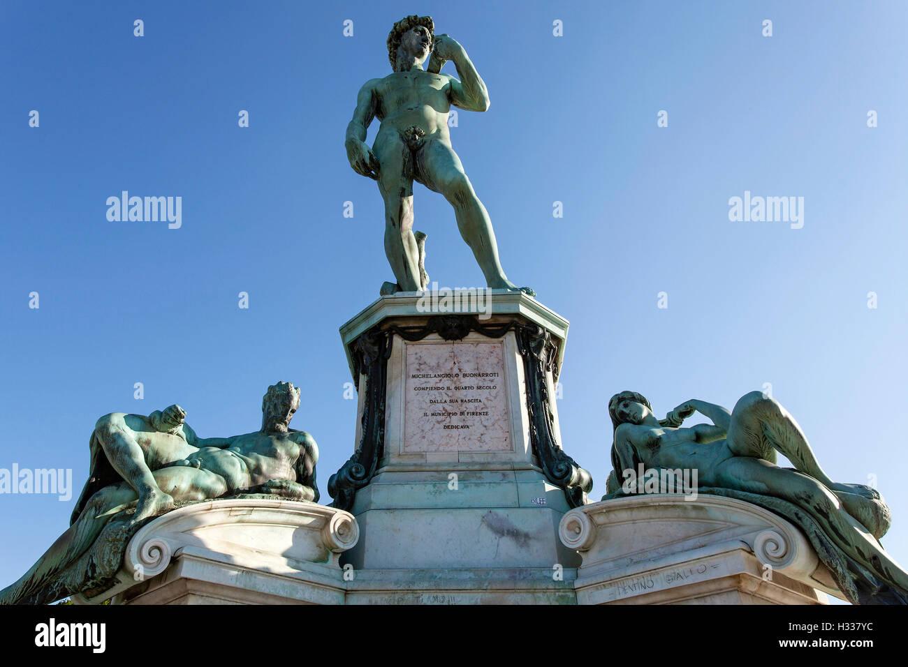 Copia de la estatua de David, el Piazzale Michelangelo, Florencia, Toscana, Italia Imagen De Stock