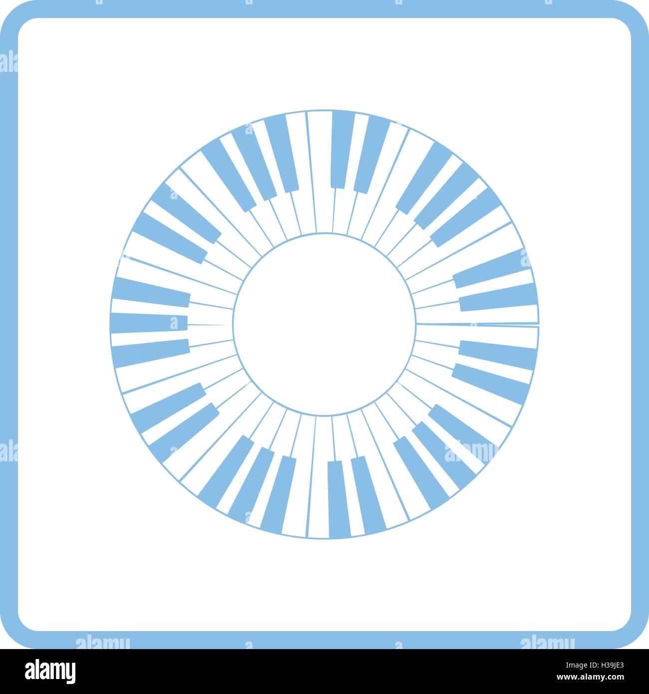 Círculo de Piano icono Teclado. Diseño de marco azul. Ilustración ...