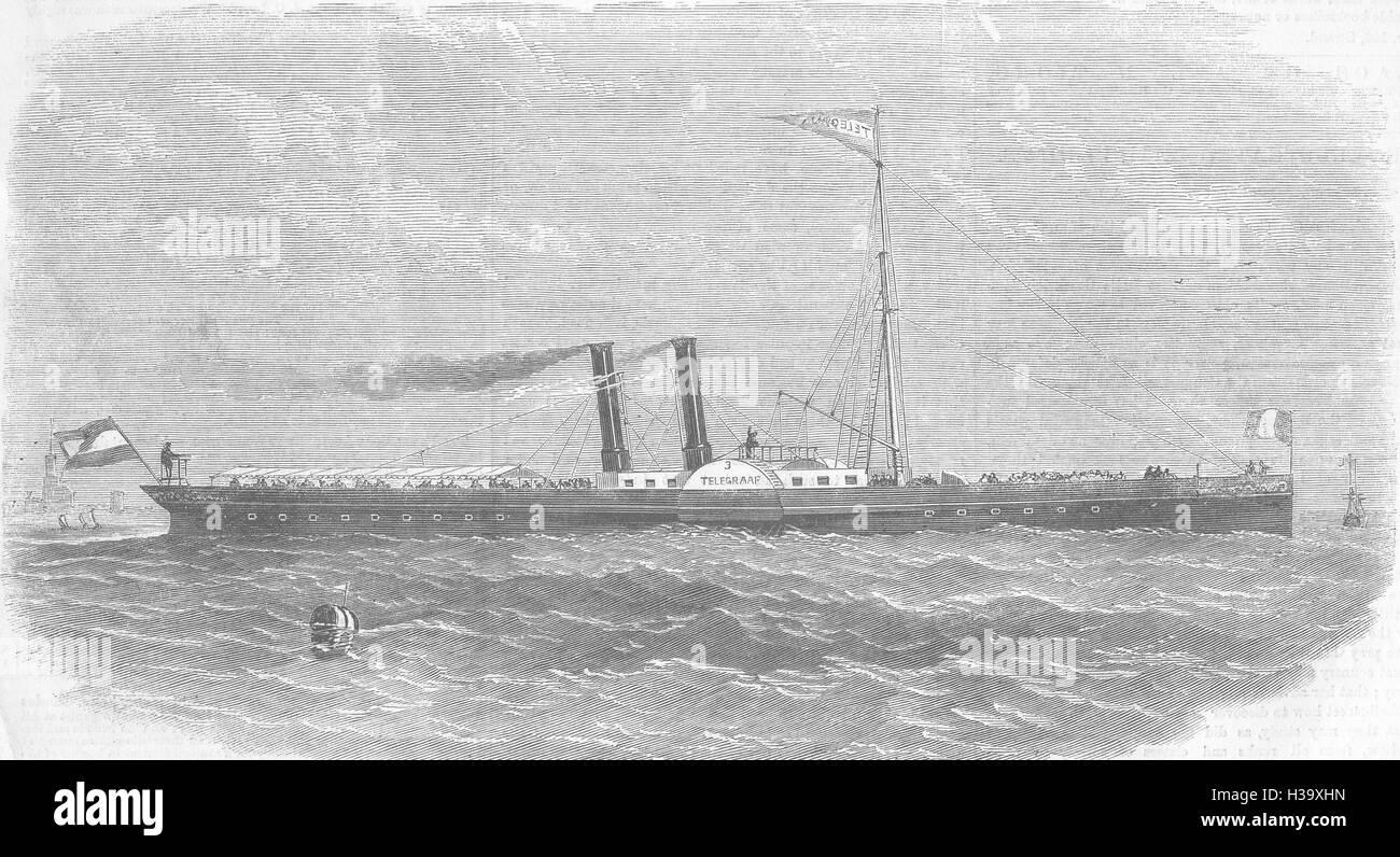ROTTERDAM, telégrafo, Fop, Smit Kinderdyk & Jun, 1858. Illustrated London News Foto de stock