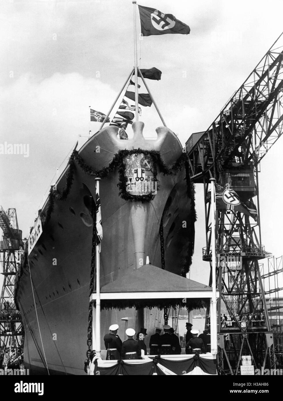 """""""El lanzamiento de HEAVY CRUISER ''Bluecher'', 1937' Foto de stock"""