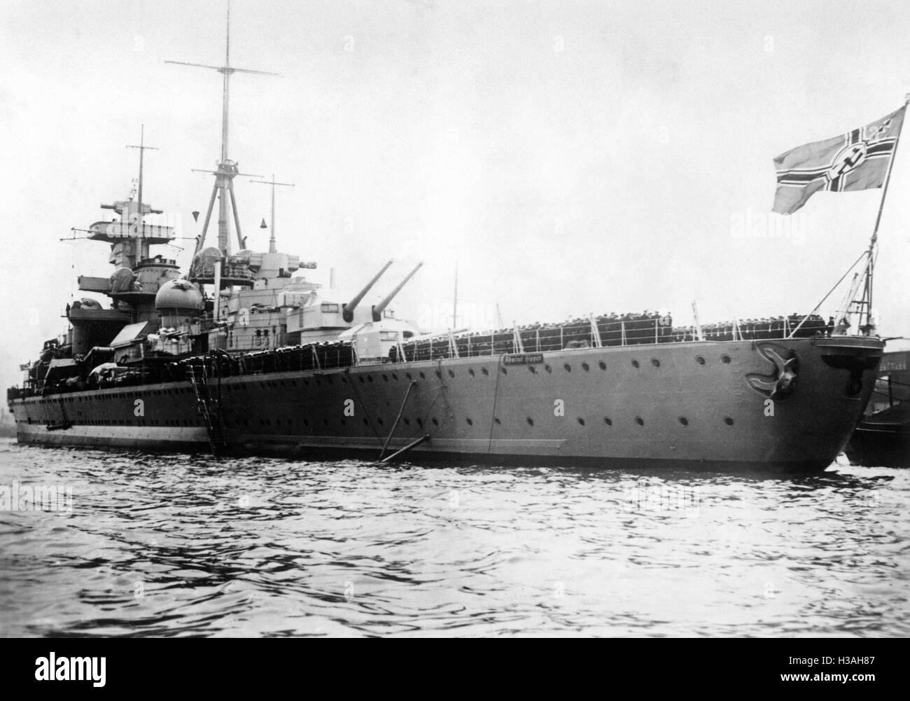 """La puesta en marcha del heavy cruiser ''Admiral Hipper'', 1939' Foto de stock"