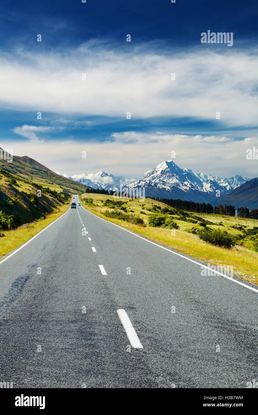 Camino al Monte Cook, Nueva Zelanda Foto de stock