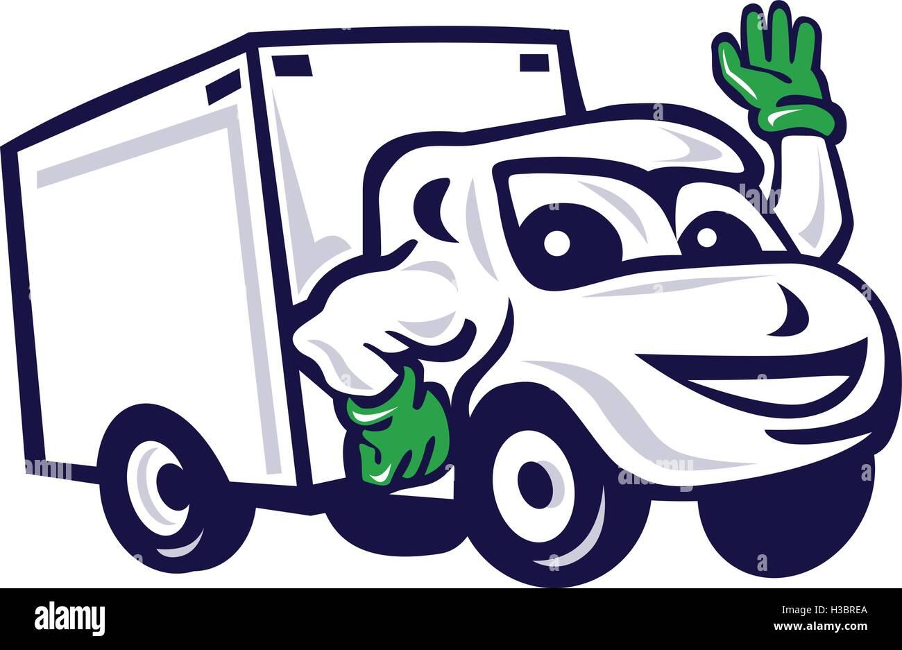Ilustración De Una Camioneta De Entrega Cerrado Agitando La