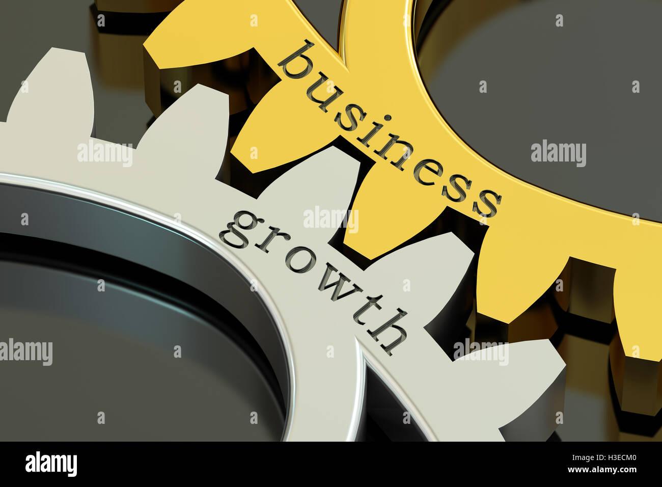 Concepto de crecimiento empresarial en los engranajes, 3D rendering Imagen De Stock