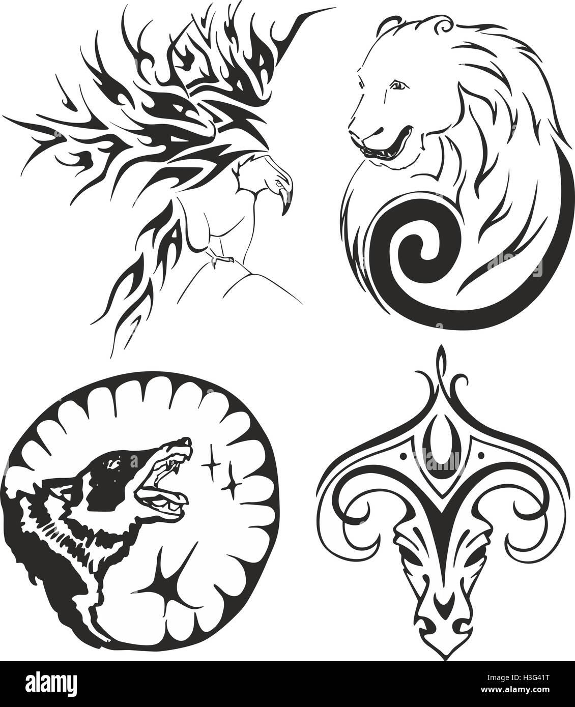 Tatuaje Tribal En Blanco Y Negro Con Un águila Un Oso Un Lobo Y Un