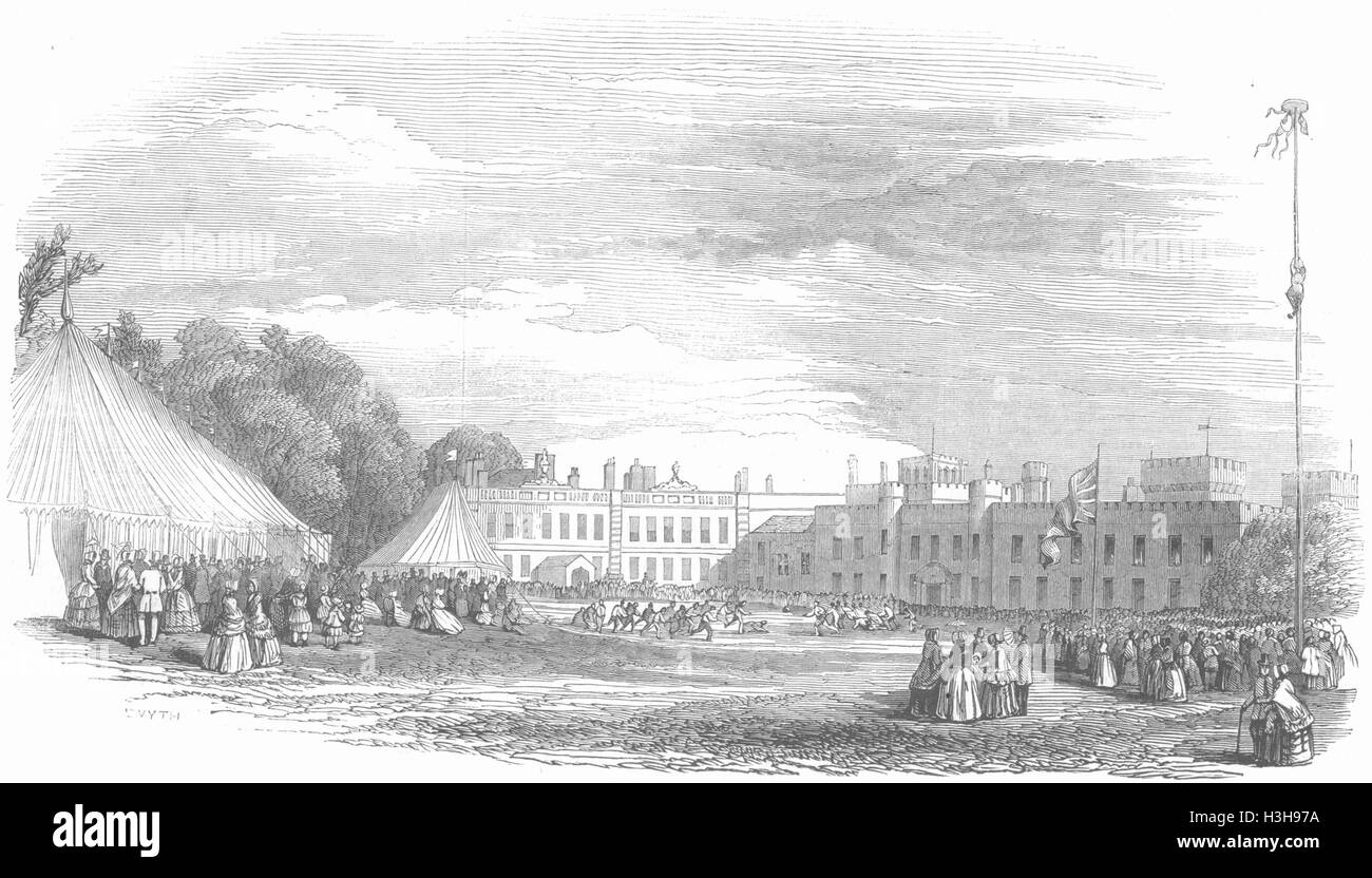 LANCS Fiestas, Knowsley rústico, césped deportivo 1847. Illustrated London News Foto de stock