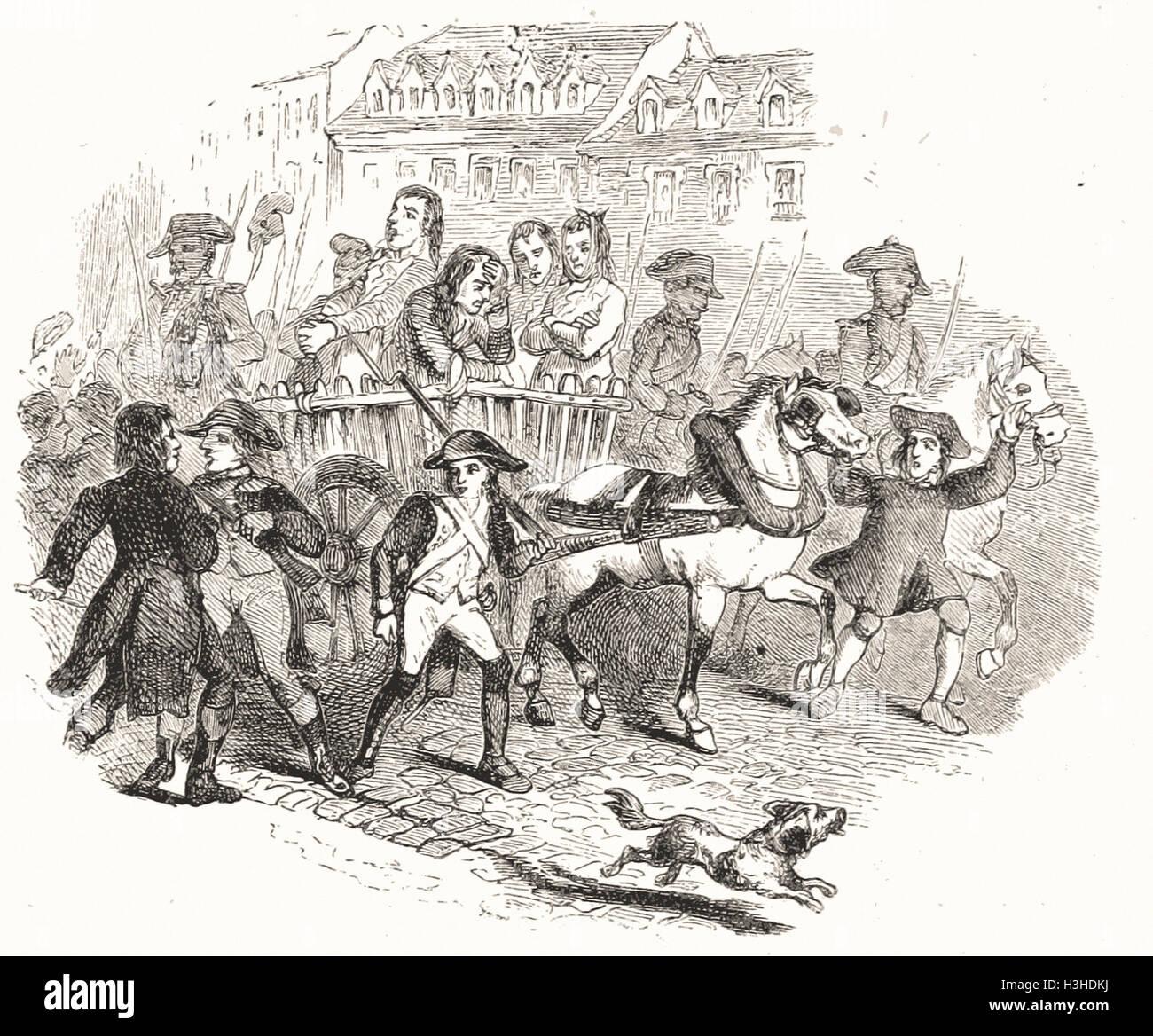 ROBESPIERRE y sus compañeros llevaron a la ejecución. Imagen De Stock