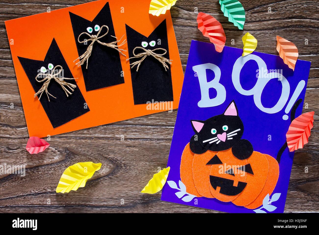 El Nino Crea Una Tarjeta De Cumpleanos Para Halloween Calabaza Gato