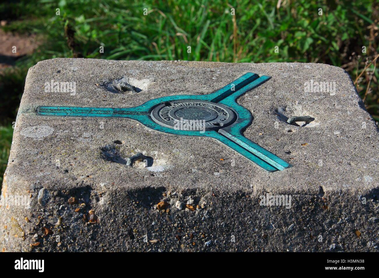 Punto de triangulación de bronce fundido moldeado en un cuadrado de hormigón peg excavados en el suelo Imagen De Stock