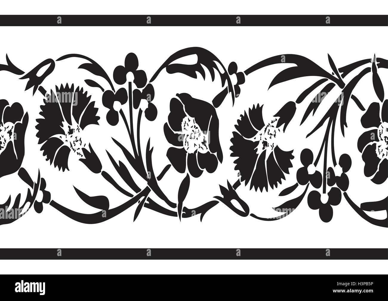 En Blanco Y Negro Vintage Flores Borde Floral Vector Horizontal