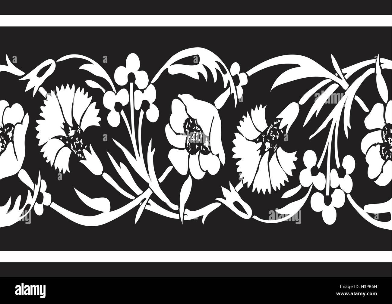 En Blanco Y Negro Vintage Flores Borde Floral Perfecta Ilustracion