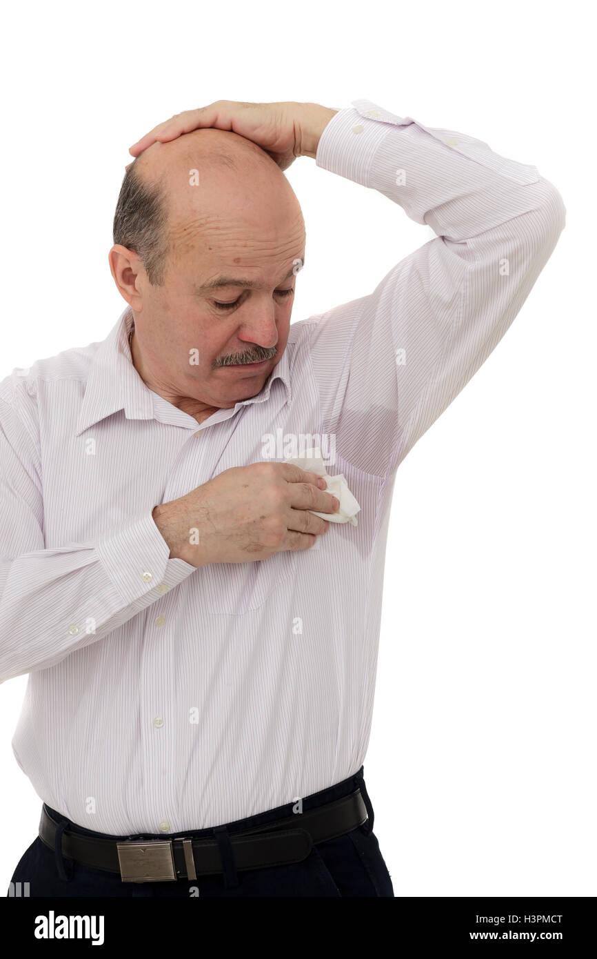 Ancianos que sufren por el calor y la congestión Imagen De Stock