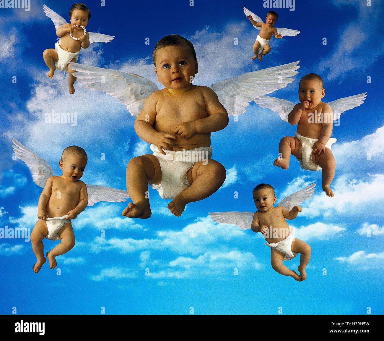 Componer Cielo Nublado Bebés Alas ángeles Bebés Niños Pequeños