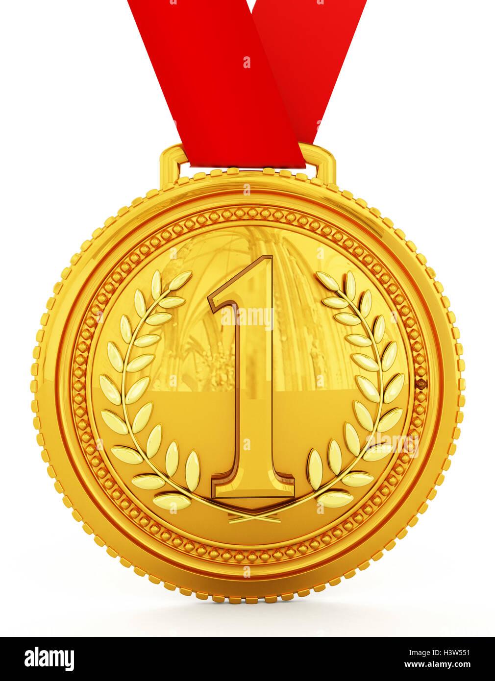 Medalla de Oro con el número uno. Ilustración 3D. Foto de stock
