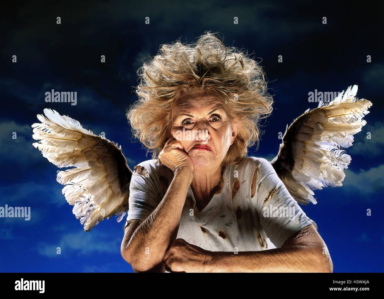 Senior Angel Jugar Nastily Facial Ferozmente Retrato Estudio