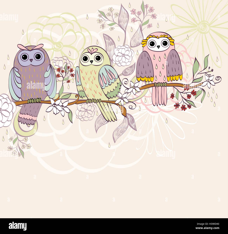 Dibujos Animados De Buhos Ilustración Del Vector Imagen 122875648