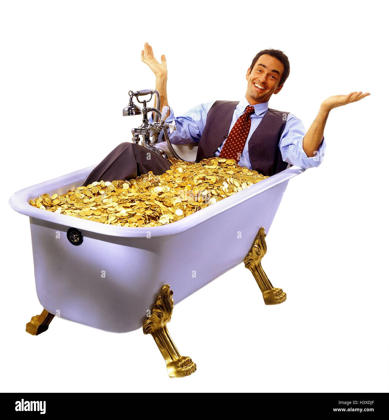 """Empresario, bañera, monedas de oro, la ganancia, la riqueza, los conceptos, el hombre de negocios, """"tiene un baño', de oro, de plata, ricamente, suerte, prosperidad, éxito, felizmente, disfrute, satisfacción, el gesto, el studio, copiar el espacio, Foto de stock"""