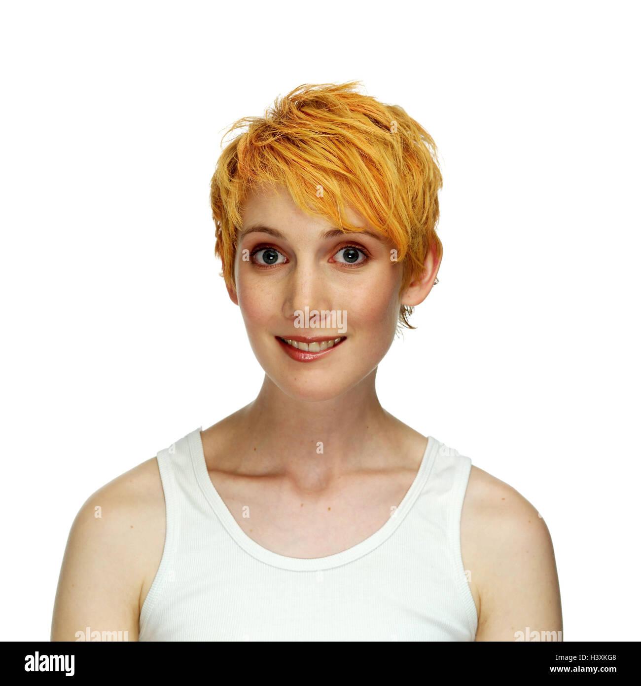 Mujer Sonrisa Joven Pelirroja Retrato Muy Cerca Studio Corte