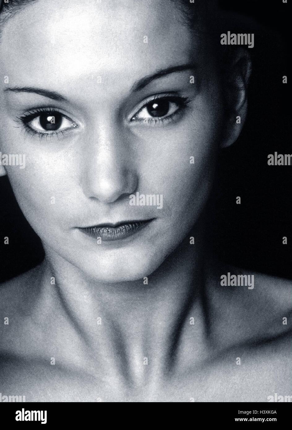 Mujer, jóvenes, retrato, b/w, Imagen De Stock