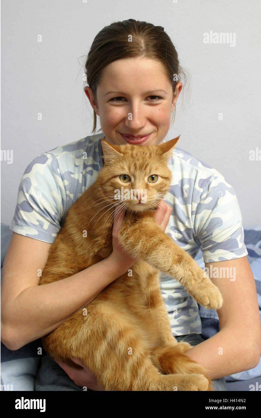 Adolescente de niñas, cat, la mitad vertical, sólo uso positivo de 17 años de edad, los jóvenes, Imagen De Stock