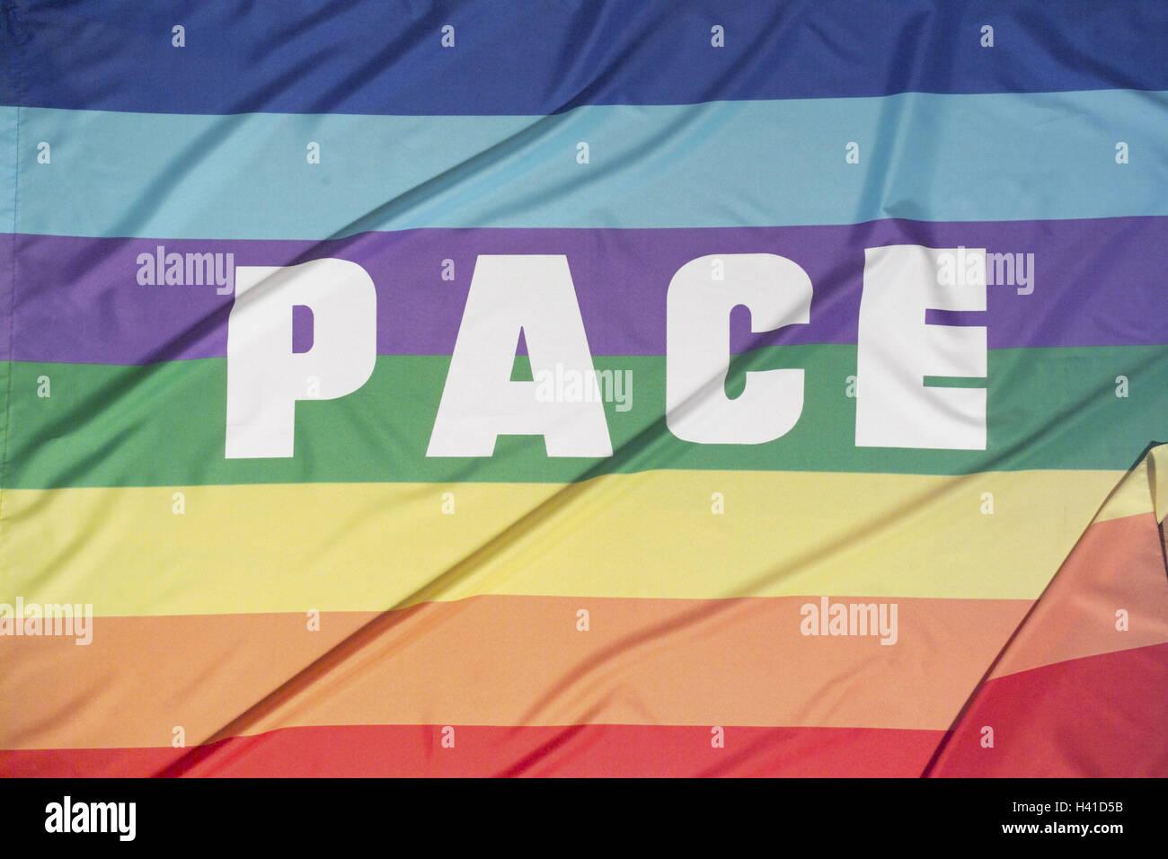 La bandera de la paz, carrera, 'espacio', sólo editorialmente, bandera, la bandera de la paz, el ritmo Imagen De Stock