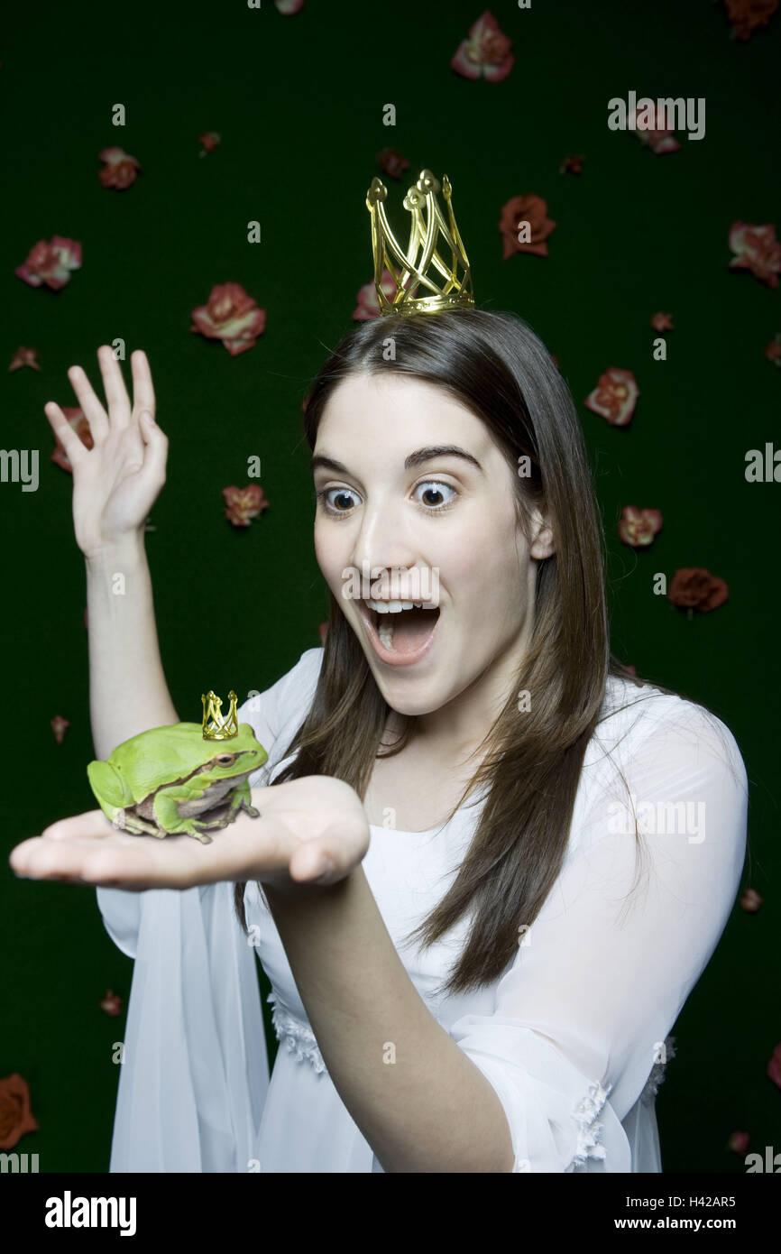La mujer, sorprendida, paneles, la princesa, la mano frog holding, Corona, retrato, retrato de personas, mujer, Imagen De Stock