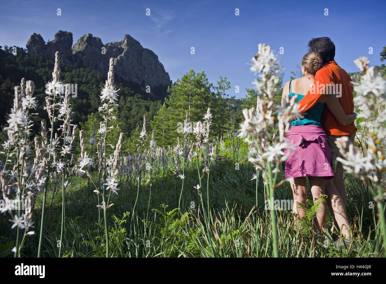 Francia, Córcega, Col de Bavella, pareja, caminar, vista posterior, Imagen De Stock