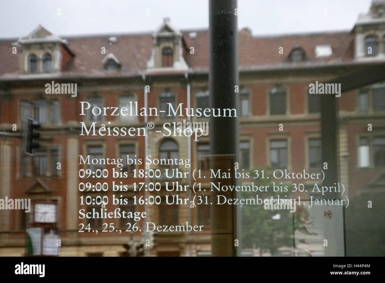 Alemania, Sajonia, porcelana de Meissen, la fabricación, el rango de entrada, ventana, horas de apertura, puerta Imagen De Stock