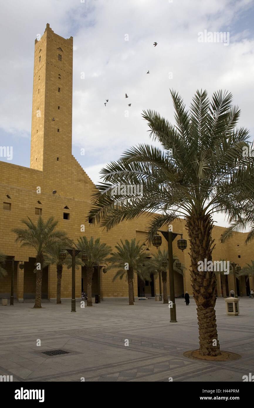 Arabia Saudita, Riad, edificio torre, explanada, palmas, Imagen De Stock