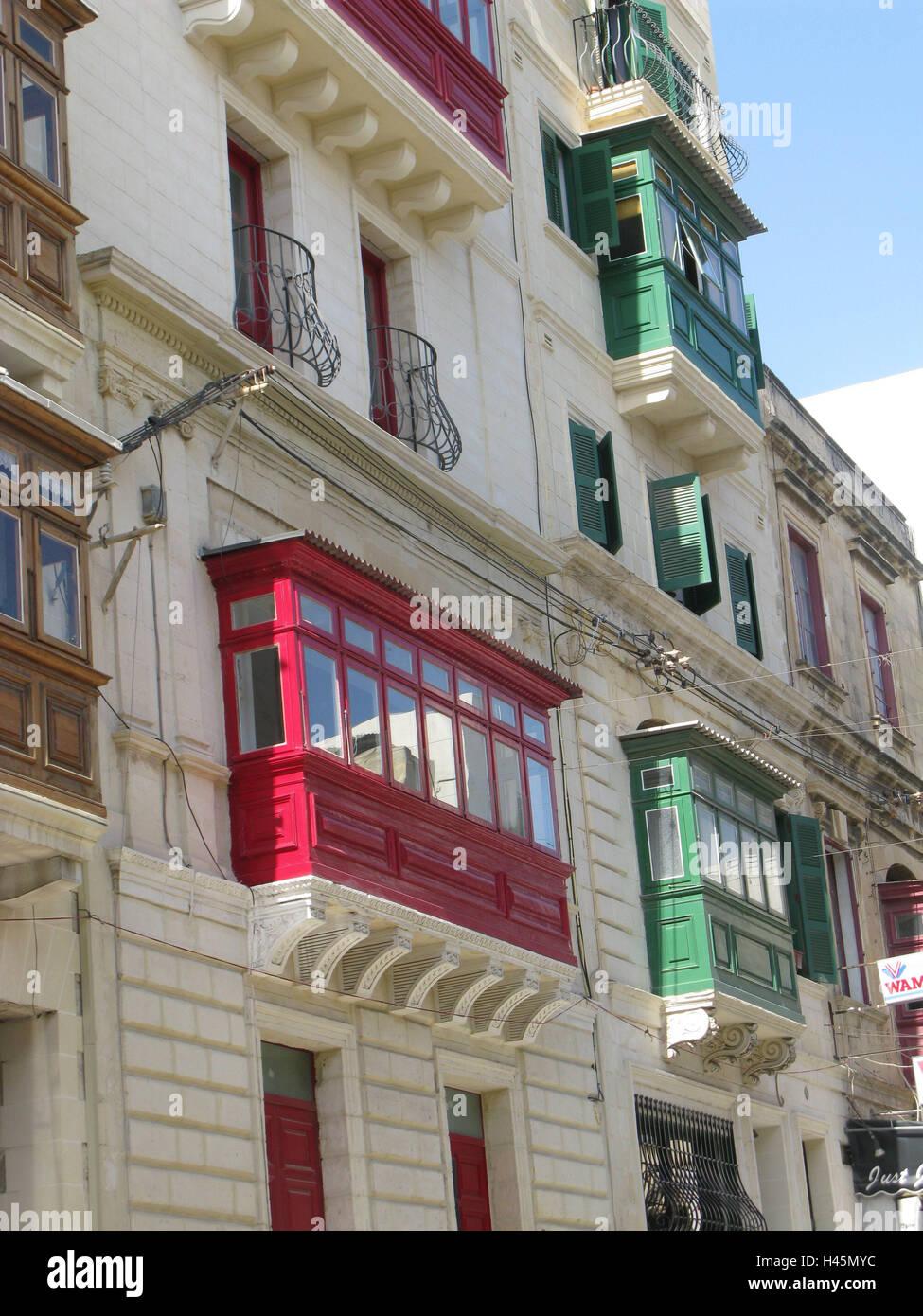 Malta Valletta Parte La Ciudad Sliema Terraza Fachadas