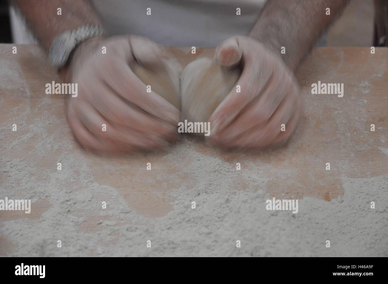 Ocupación, Baker, manos, amasar la masa, detalle Imagen De Stock