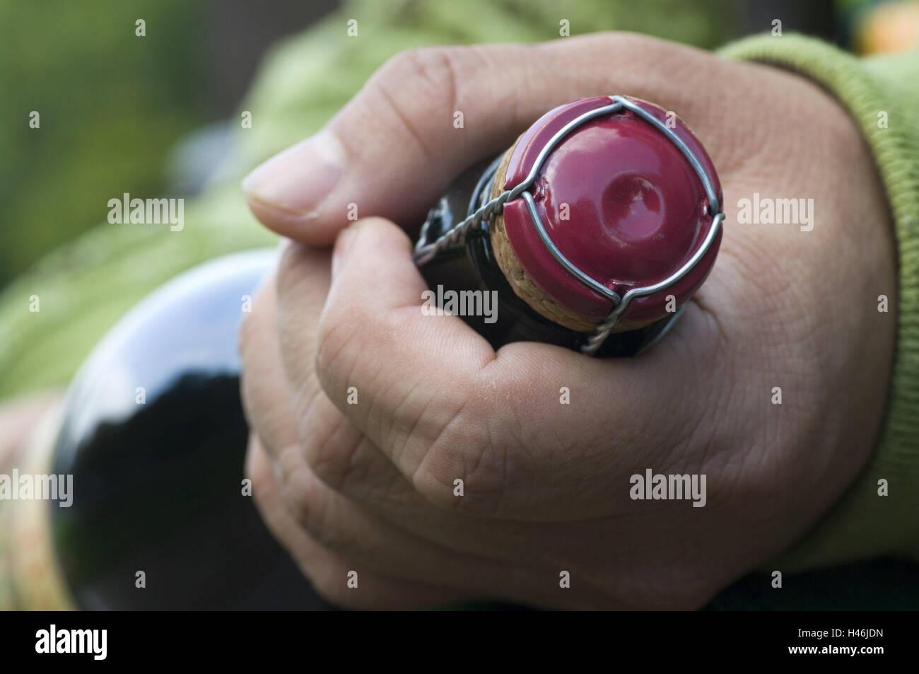 Las manos del hombre, mantenga la botella de sidra, media de cerca, botella, frasco de cristal, botella de vino Imagen De Stock