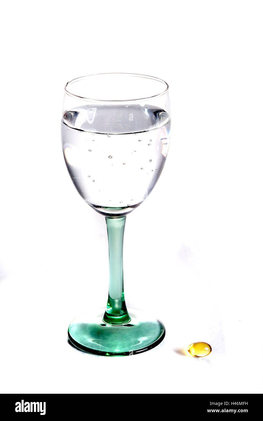 Vaso de Agua, Fischölkapsel, cristal, agua, agua mineral, ácido carbónico, tome, beber, cápsulas, Imagen De Stock