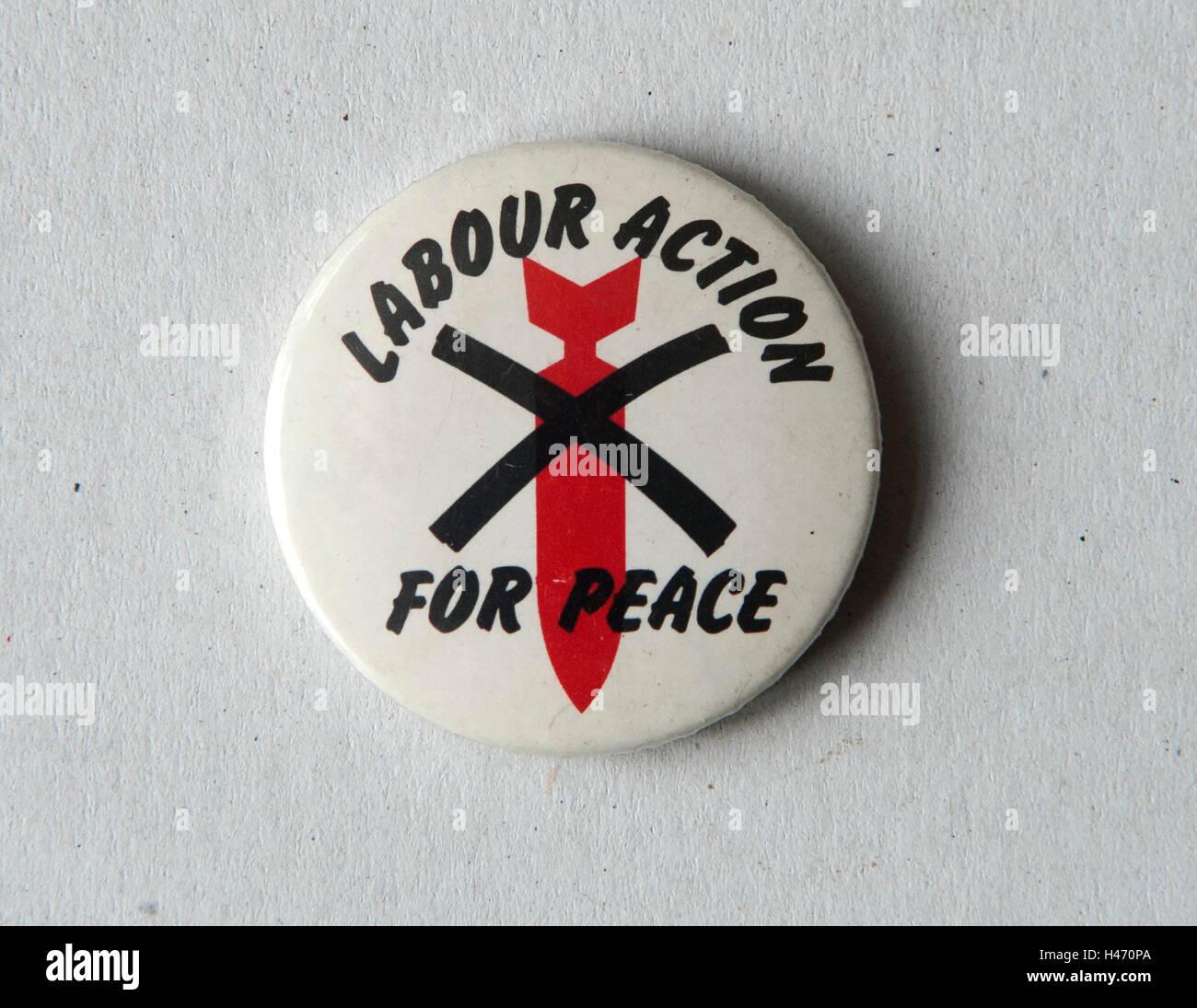 La acción por la paz laboral insignia pin 1980 Homero SYKES Imagen De Stock