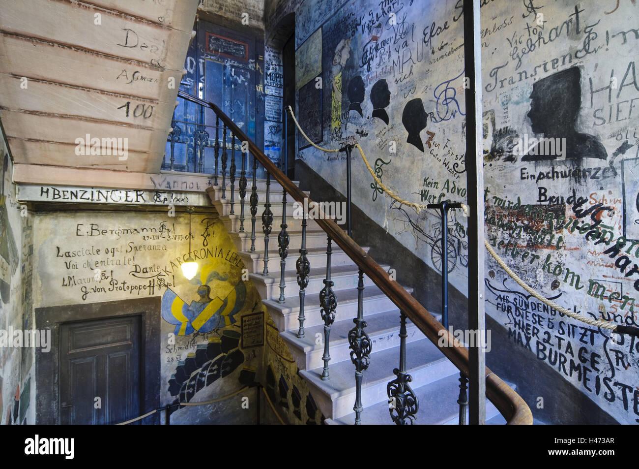 Heidelberg, estudiante de la celda de detención, pinturas murales, graffiti, Universidad, Baden-Wurttemberg, Alemania Foto de stock