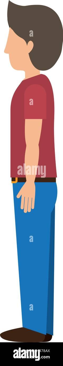 Hombre de pie con perfil izquierdo t-shirt Ilustración del Vector