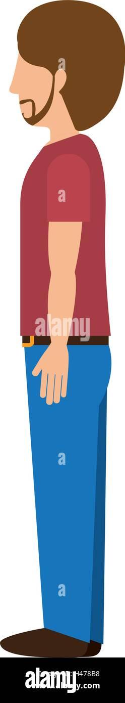 Hombre de pie con perfil izquierdo t-shirt barba Ilustración del Vector