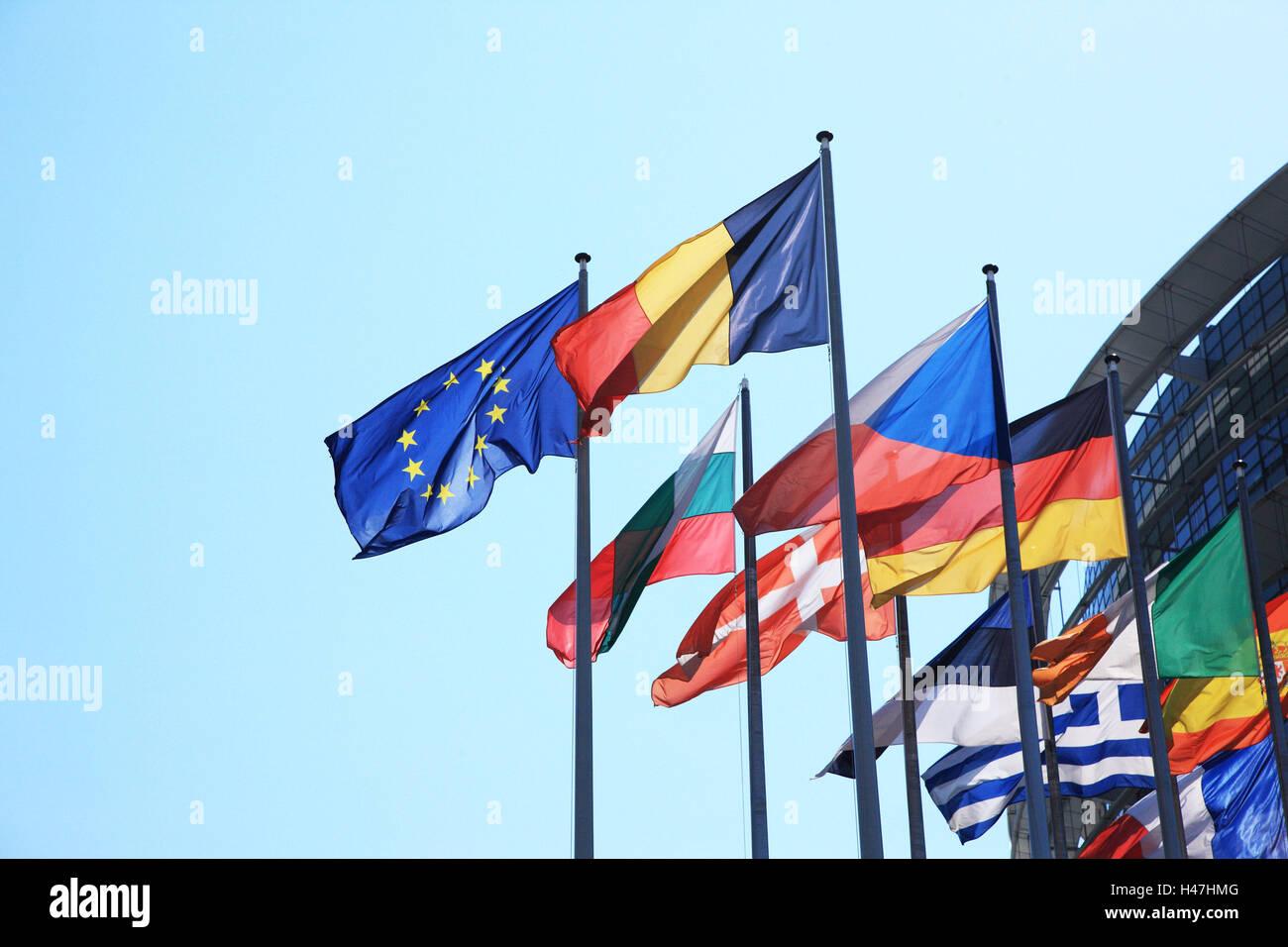 Europa, banderas, Europa, Francia, banderas, golpe, el parlamento, la política, la Alsacia, Estrasburgo, Imagen De Stock